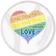 Lgbt Rainbow Hearth Flag Illustrated With Love Word Of Different Languages Round Beach Towel