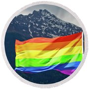 Lgbtq Rainbow Flag With Snowy Mountain Background View Round Beach Towel