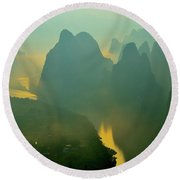 Li River At Dawn  Round Beach Towel