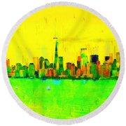 Liberty In New York - Pa Round Beach Towel