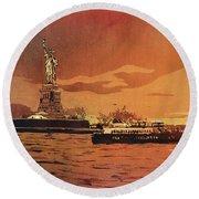 Liberty Island- New York Round Beach Towel