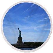 Liberty Island Statue Of Liberty Round Beach Towel