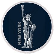 Liberty, New York, Popart Round Beach Towel