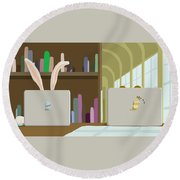 Library And Laptops Round Beach Towel