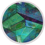 Library Angles Round Beach Towel