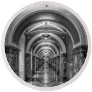Library Of Congress Building Hallway Bw Round Beach Towel