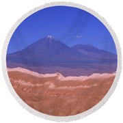 Licancabur Volcano Seen From The Atacama Desert Chile Round Beach Towel