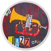 License Plate Art Jazz Series Number One Trumpet Round Beach Towel