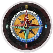 License Plate Compass North South East West Road Trip Letters On Old Red Barn Wood Round Beach Towel