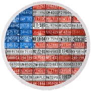 License Plate Flag Of The United States Round Beach Towel by Design Turnpike