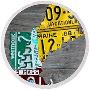 License Plate Map Of New England States Round Beach Towel