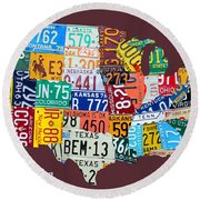 License Plate Map Of The United States Round Beach Towel