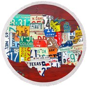 License Plate Map Of The United States - Midsize Round Beach Towel