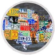 License Plate Map Of The Usa On Gray Distressed Wood Boards Round Beach Towel