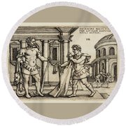 Lichas Bringing The Garment Of Nessus To Hercules Round Beach Towel
