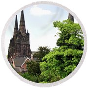 Lichfield Cathedral From Minster Pool Round Beach Towel