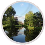 Lichfield Cathedral Reflectons Round Beach Towel