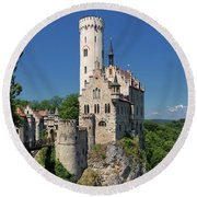 Lichtenstein Castle Round Beach Towel by Yair Karelic