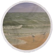 Life At The Sea Shore Round Beach Towel