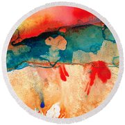 Life Eternal Red And Green Abstract Round Beach Towel