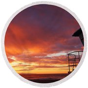Life Guard Tower Round Beach Towel