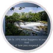 Life Is Staying Above The Debris Round Beach Towel