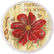 Life Is The Flower Round Beach Towel by Debbie DeWitt