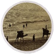 Life Near The Arabian Sea Round Beach Towel