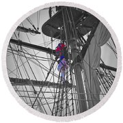 Life On The Ropes Round Beach Towel