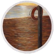 Life Ring At Sunset Round Beach Towel