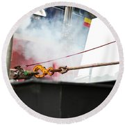 Lifeboat Chocks Away  Round Beach Towel by Terri Waters