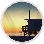 Lifeguard Tower At Sunset Round Beach Towel