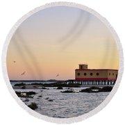 Lifesavers Building And Birds In Fuzeta. Portugal Round Beach Towel
