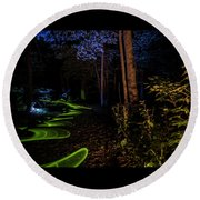 Lighit Painted Forest Scene Round Beach Towel