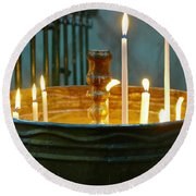Light A Candle Round Beach Towel