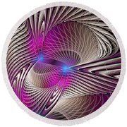 Light And Lines Round Beach Towel