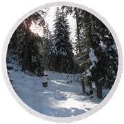 Light And Shadow On A Snowy Landscape Round Beach Towel