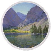 Light At Parker Lake Round Beach Towel