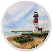 Light At The Inlet Round Beach Towel