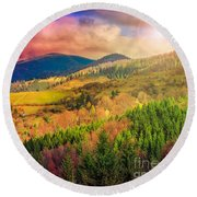 Light  Beam Falls On Hillside With Autumn Forest In Mountain Round Beach Towel