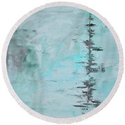 Light Blue Gray Abstract Round Beach Towel
