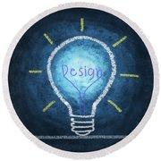 Light Bulb Design Round Beach Towel