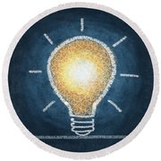Light Bulb Design Round Beach Towel