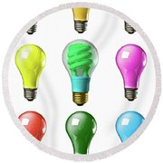 Light Bulbs Of A Different Color Round Beach Towel