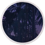 Light Decorated Palm Trees On Paseo Maritimo Round Beach Towel