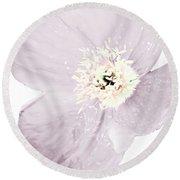 Light Dusty Lavender Poppy Round Beach Towel