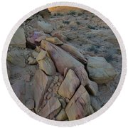 Light Fading On Valley Of Fire Round Beach Towel