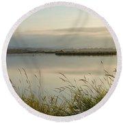 Light Falling Softly On The Marsh Round Beach Towel