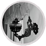 Light From The Past B W Round Beach Towel