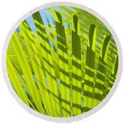 Light Green Palm Leaves Round Beach Towel